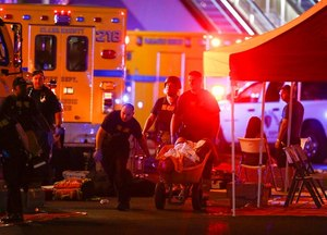 Multiple victims were being transported to hospitals after a shooting late Sunday at a music festival on the Las Vegas Strip.