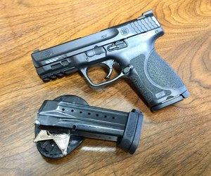 The Smith and Wesson M&P9 M2.0 Compact magazine holds 15 rounds of 9mm ammunition. (photo/Steve Tracy)