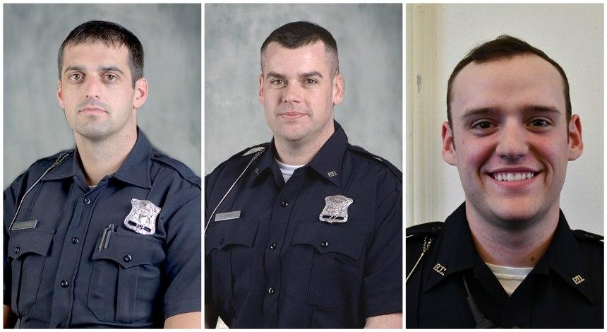 Battle Creek officers Jeffrey Johnson, Benjamin Downey and Ben Shippell