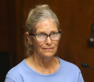 In this Sept. 6, 2017, file photo, Leslie Van Houten attends her parole hearing at the California Institution for Women in Corona, Calif.