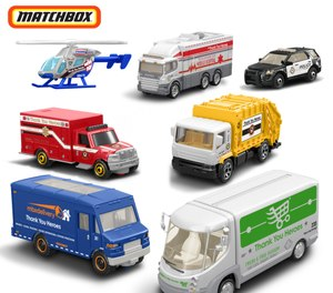 The expanded #ThankYouHeroes collection by Mattel includes a set of seven Matchbox vehicles including an ambulance, mobile hospital and police car. (Photo/Mattel)