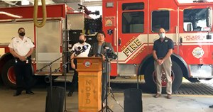 New Orleans Mayor Latoya Cantrell announces the city's SAFER Grant award at a Sept. 8 press conference. Image: Facebook