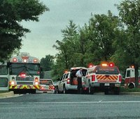 13 hurt in Md. bus, truck collision