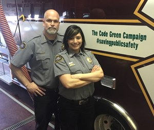 "Capt. Monique Rose and Chief Pat Songer, Humboldt General Hospital EMS, show their support for emergency responder safety."" (Image Monique Rose)"