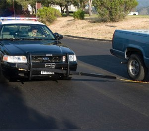 MobileSpike is mounted to the front bumper of the squad car. (Courtesy MobileSpike)