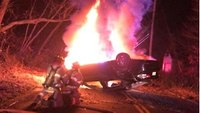 NJ firefighter, cop rescue driver from overturned vehicle after fiery crash