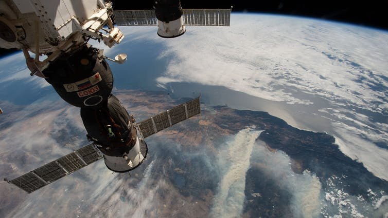 Wildfires seen from the International Space Station.