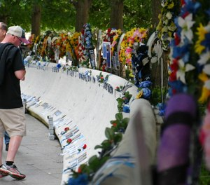 The National Law Enforcement Officers Memorial, sitting on federal parkland in Washington, DC adjacent to the National Law Enforcement Museum, remains accessible to visitors. (Photo/Police1)