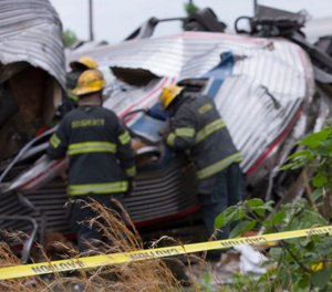 Scene of the Amtrak train derailment in Philadelphia in 2015.