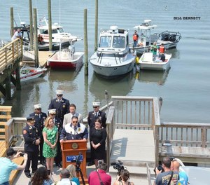 Town workers installed a 6-foot-by-88-foot pier this spring and a 3-foot-by-20-foot ramp, leading to a 10-foot-by-20-foot float with four piles behind Long Beach Fire Station No. 2.(Photo/ City of Long Beach New York Fire Department)