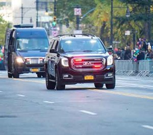 NYPD's Hercules team patrols the parade route at the Macy's Thanksgiving Day Parade. (AP Image)