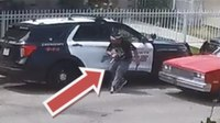 Watch: Man sought after slashing tires of 3 cop cars