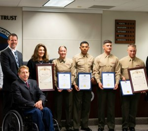 Five Marines from the 1st Law Enforcement Battalion, Lake Forest's adopted military unit, were honored Tuesday, March 5, at the Lake Forest City Council meeting for their heroic actions. (Photo/Courtesy of the City of Lake Forest)