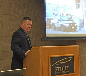 Lake Hallie Police Department Detective Adam Meyers spoke at the UW-Stout Criminal Justice and Rehabilitation Conference about the Walmart shooting incident. (Photo/UW-Stout)