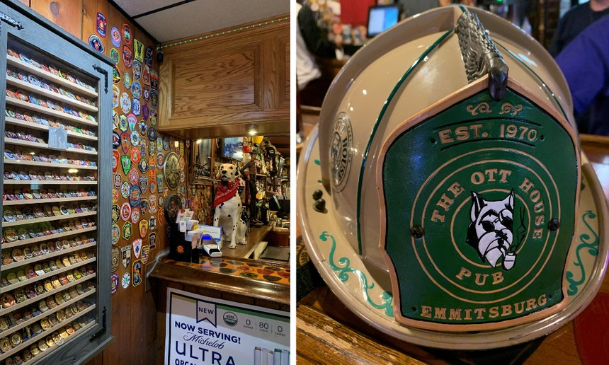 Over the years, firefighters from over 400 departments have left their patch at Ott House. But some have gone further than that, building decorative cases to display challenge coins or bringing custom fire helmets as gifts to the Ott family.