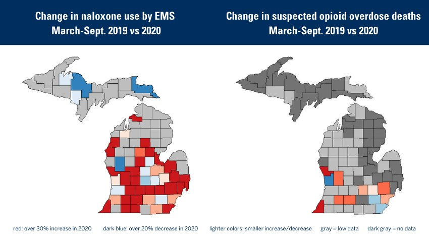 These maps of Michigan show changes in opioid overdose deaths and uses of an overdose rescue drug by EMS in the peak COVID-19 months, compared with the same months in 2019.