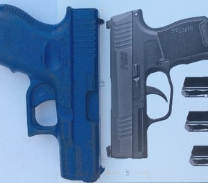 The P365 offers an overall length that is substantially shorter than other pistols in this category. A Glock 26 replica is shown for comparison.