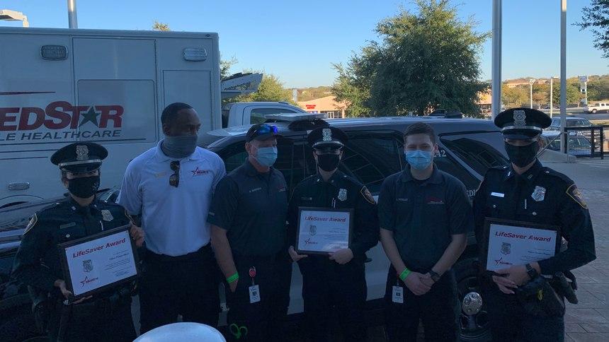(Left to Right) Officer Claudia Alfaro, MedStar Paramedic Quinton Wallace, MedStar Paramedic Randy Behringer, Officer Chelsey Newsom, MedStar EMT John Pendley, Officer Jessica Morgan.