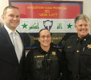 Pictured L-R are RCSD's pre-PTSD conditioning training instructors Lieutenant Larry Payne, Staff Sergeant Kellye Hendrick and Major Roxana Meetze.