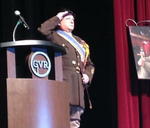 General George S. Patton, as played by corporate entertainer John Di Domenico, salutes the fire and EMS leaders attending Fire-Rescue Med.