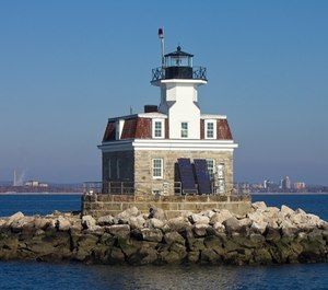 Firefighters used a drone to locate a kayaker who became stranded on the rocks around Penfield Reef Lighthouse on Saturday night. (Photo/U.S. General Services Administration)