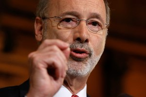 Pennsylvania Gov. Tom Wolf threatened Monday, May 11, 2020 to block aid to rebellious counties in an escalating political fight over his administration's handling of the coronavirus. Image: AP Photo/Matt Rourke
