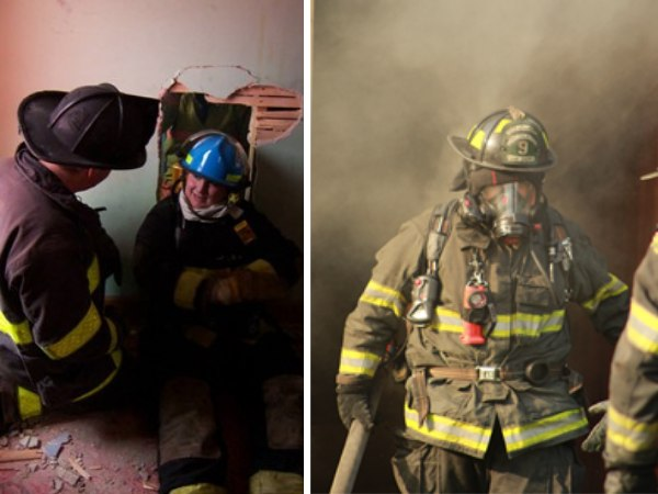 Left: Clark with instructor Jeff Shupe during rookie school in 2002. (Photo/John Whitinger)Right:Clark during rookie school in 2021.(Photo/Ashley Clark)