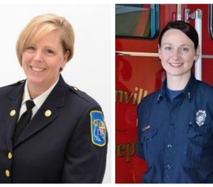Left to right: Angela Hughes, captain at the Baltimore County (Maryland) Fire Department and president of iWomen, and Amy Hanifan, shift captain at the McMinnville (Oregon) Fire Department and vice president of iWomen.