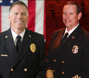 Mark Novak, fire chief of Vail (Colorado) Fire and Emergency Services, and Craig Daugherty, fire chief of the San Juan County (N.M.) Fire Department.