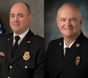 Left to right: Volunteer Fire Chief, John Morrison, of the Vienna Volunteer Fire Department in Vienna, Virginia, and career Fire Chief, James Clack, of the Ankeny Fire Department in Ankeny, Iowa, are this year's honorees.