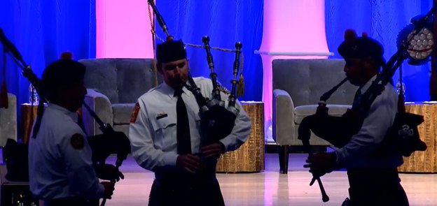 The Charlotte (N.C.) Pipes and Drums played Amazing Grace.
