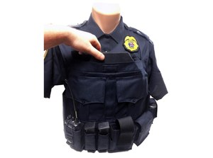 The custom load-bearing vest carrier used by Plover (Wisconsin) PD includes pouches to hold Level IV rifle plates.