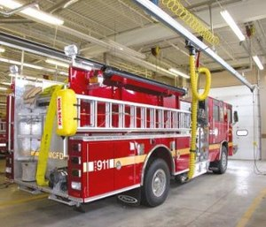 Fire departments must use NFPA-approved equipment to protect staff from diesel exhaust. (Photo/Plymovent)