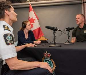 Chief Neil Dubord (left) is pictured with Bend Don't Break podcast producer Nikki Hewitt,and executive producer Cst. Aaron Hill. (Photo/Delta Police Department)
