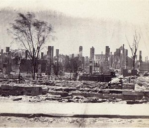In this 1866 photo released by the Maine Historic Preservation Commission, destruction from a fire that swept through Portland left about 10,000 people homeless but killed only a few. (Maine Historic Preservation Commission via AP)