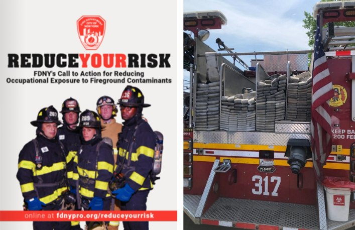 """Left:The cover of the FDNY Reduce Your Risk Publication highlights the importance of glean gear. Access this free publication at www.fdnypro.org/reduceyourrisk. Right:Use photos that demonstrate what """"right"""" looks like. This is just as true for contamination reeducation as it is for other training, such as demonstrating proper hose-loading on the back step of an engine."""