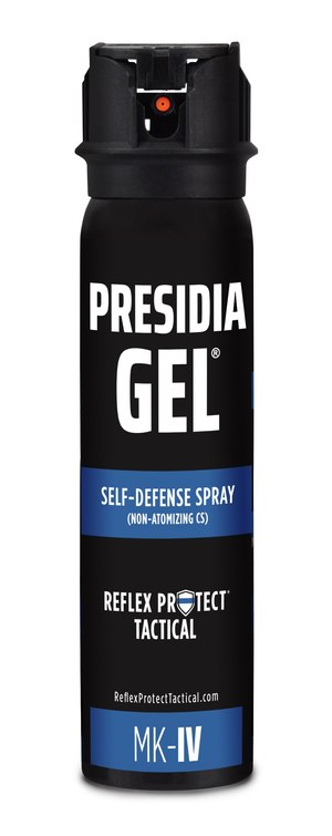 The effects of Presidia Gel (MK-IV unit shown) include immediate, severe discomfort and involuntary eye closure, but the formula does not cause swelling of the throat or damage to tissues. Because Presidia Gel is not oil-based, it decontaminates far faster than OC/pepper spray.