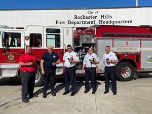 L to R, Bullard Regional Sales Manager Mark Jetton, Training Officer Larry Gambotto, Fire Chief Sean Canto, Battalion Chief Rogers Claussen, and Assistant Chief/Fire Marshall William Cooke accept the first delivery of Bullard TXS Thermal Imagers for Rochester Hills Fire Department. (Courtesy photo)