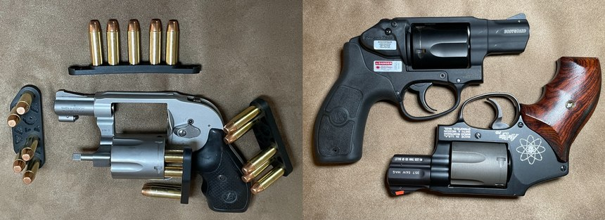 Left: S&W 638 with pocketable J-Pak and J-Strip speed loaders from Zeta-6. Right: BG38 with integrated Crimson Trace laser (top) and 340PD (bottom).