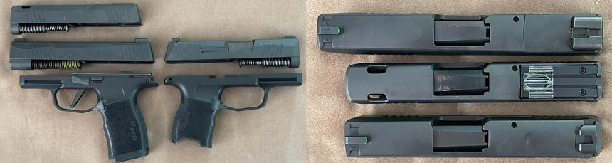 Left: Two frames and threeslides are available. Right: P365XL, P365 SAS, P365. Note the porting and flush sight on the SAS.
