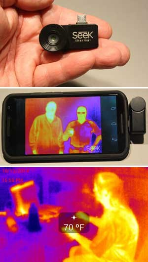 Top: The SEEK camera unit is very light and compact. Middle: Two cops, one in uniform (right) wearing glasses, soft body armor and holding a hot cup of coffee. You can just make out the officer's badge and something in his left shirt pocket blocking the heat image. Did you notice the guy on the right is much hotter (should be tested for Ebola!). Bottom: Image of a woman at computer which shows the temperature readout crosshair. Notice the cold drink sitting by the laptop. (PoliceOne Image)
