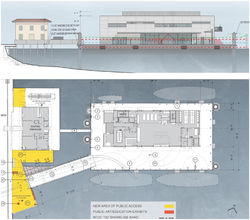 Because of its unique design, the floating fire station was designed to rise and fall with the natural tide of the Bay, king tides and projected sea-level rise, eliminating the flooding risk issue.