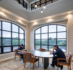 The new South Metro Fire Station No. 32 in Centennial, Colorado, has an area on the second floor that's casually furnished so it feels more like home. (Photos/OZ Architecture)