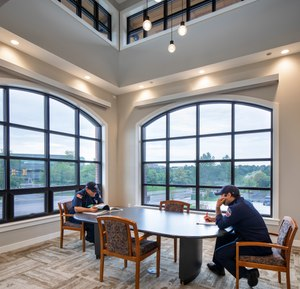 The new South Metro Fire Station No. 32 in Centennial, Colorado, has an area on the second floor that's casually furnished so it feels more like home.