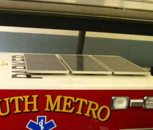 Solar panels mounted on top of the ambulance