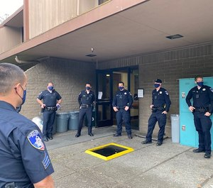 Pre-shift briefings are conducted outside, rather than in a squad room, so there is less gathering of officers in an enclosed space. (Photo/Santa Rosa Police Department)