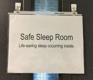 Safe Sleep Room sign alerts co-workers that medics are getting much needed sleep before driving home. (Image courtesy Ginger Locke)