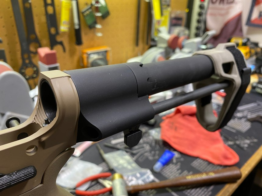 The pistol brace from SB Tactical went on, then buffer spring and tube. The weapon was finished.