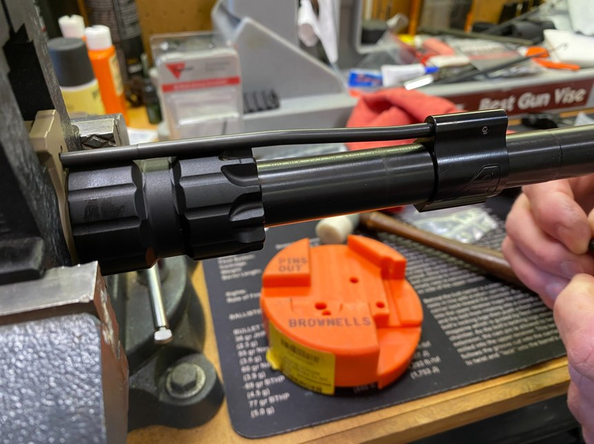 With the barrel and nut torqued to specs, we installed the gas block and gas tube.
