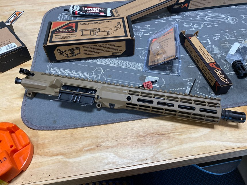 At this point, the upper was completely done. Having a giant tech mat that is also an exploded diagram of the AR-15 was helpful for me.